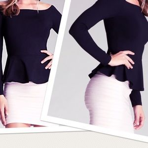 New Bebe peplum stretch black top off shoulder